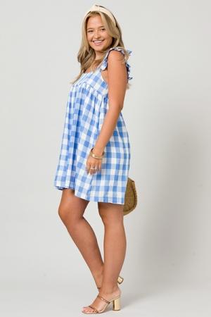 Ruffle Strap Gingham Dress, Blue