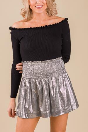 Smocked Shorts, Silver Shine
