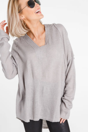 Perfect Hooded Pullover, Grey