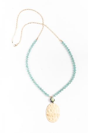 Hammered Oval & Bead Necklace, Mint