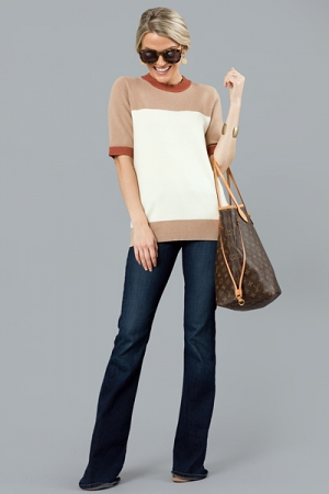 Colorblock Sweater Top, Taupe