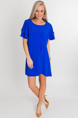 Tulip Hem Wrap Dress, Cobalt