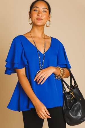 Flutter Sleeve Blouse, Neon Royal