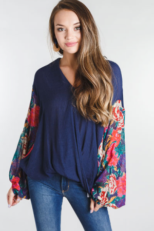 Floral Sleeve Wrap Top