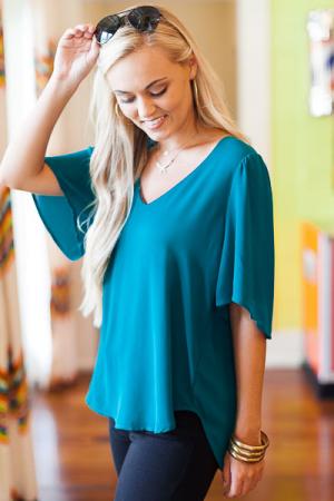 Drop Shoulder Blouse, Green