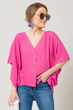 Buttoned Kimono Top, Hot Pink
