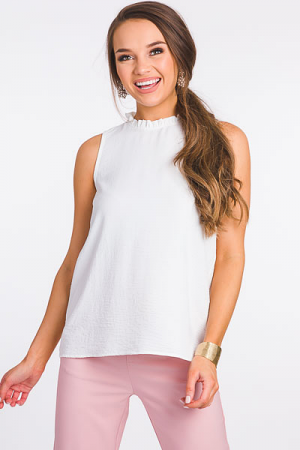 Pebbled Ruffle Neck Top, Ivory
