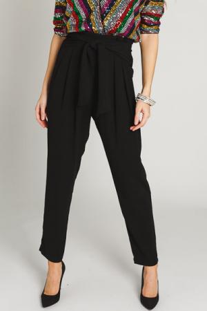 Pleat Waist Belted Pants, Black