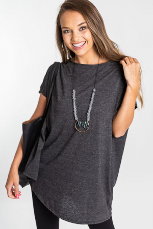 Asymmetric Boatneck Tunic, Charcoal