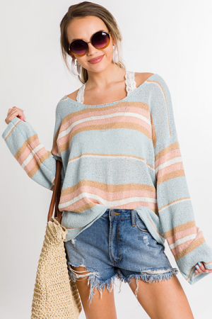 Pastel Blue Stripe Sweater