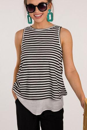 Back Tie Stripe Tank, Black