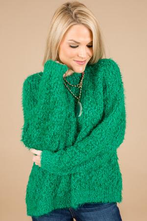 Felecia Fluffy Sweater, Green