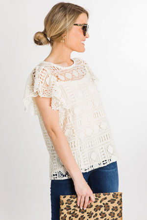 Cream Crochet Top