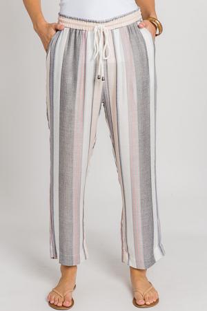 Sand Stripes Crop Pants
