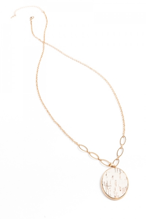 Cork Oval Long Necklace, White