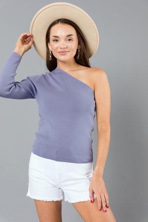 Rib 1 Shoulder Sweater, Periwinkle