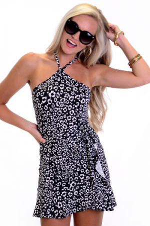 Stretchy Leopard Skirt Set