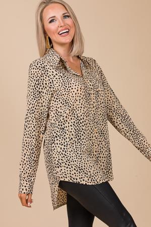 Button Down Tunic, Leopard