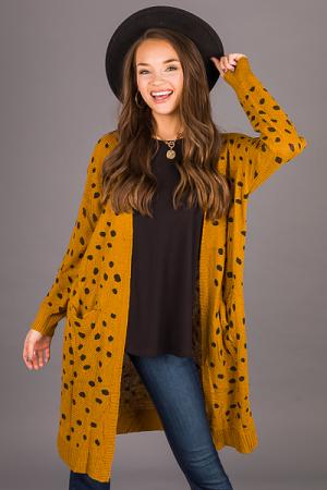 Dalmatian Sweater Cardi, Mustard