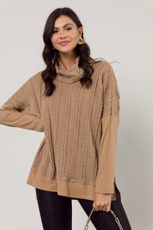 Cable Lines Cowl Tunic, Taupe