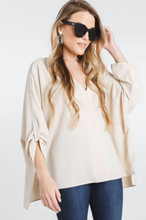 Pleat Front Tabby Blouse, Oatmeal