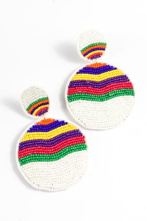 Rainbow Wave Earring, White