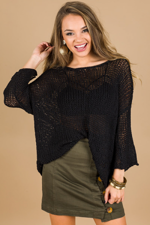 Loose Knit Sweater, Black