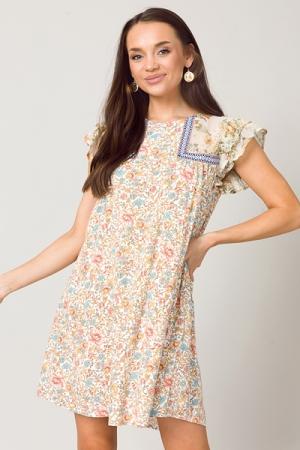 Floral Patchwork Dress, Ivory