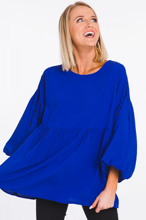 Balloon Sleeve Blouse, Cobalt