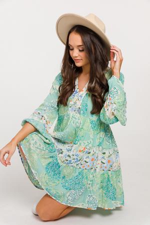 Mix Up Flowy V Dress, Mint