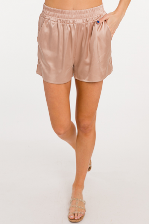 Solid Satin Shorts, Taupe