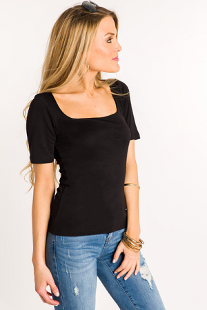Square Neck Fitted Tee, Black