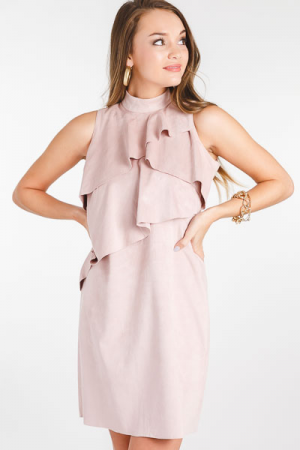 Carley Suede Dress, Dusty Rose