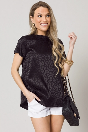 Lux Leopard Blouse, Black