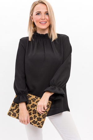 Above It All Ruffle Blouse, Black