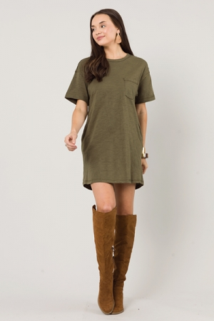 Pocket Tee Dress, Olive