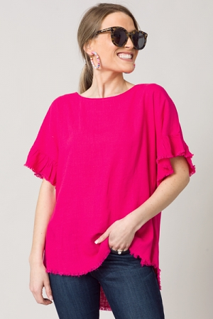 Scoop Hem Linen Top, Hot Pink