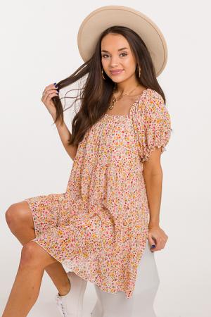 Hannah Floral Dress, Cream Mix