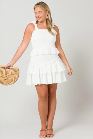 Ruffle Layer Smock Dress, White