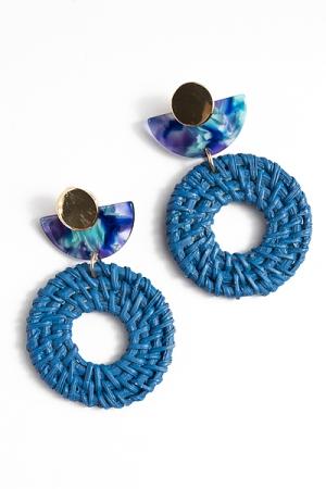Acrylic & Rattan Circle Earrings, Blue