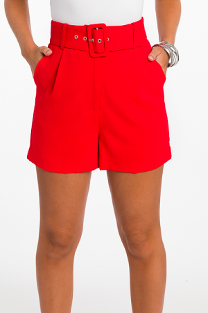 Belted Shorts, Red