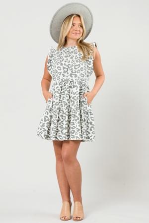 Linen Leopard Tier Dress, White