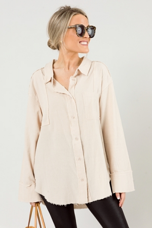 Cape Cod Fray Button Up, Tan