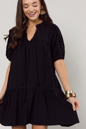 Dolled Up Cotton Dress, Black