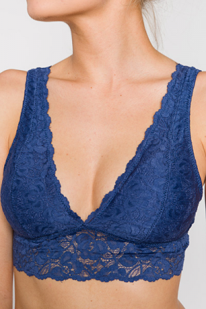 Double V Bralette, Navy