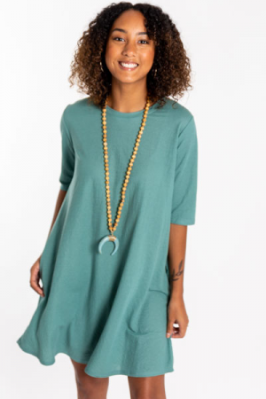 Woven Swing Dress, Seafoam