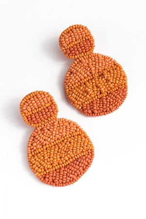 Layered Beads Earring, Coral