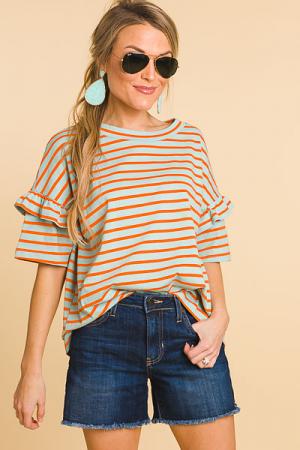 Spring Stripes Tee, Aqua Orange