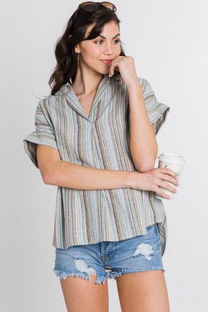 Washed Stripes Collared Top