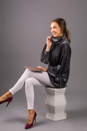 Velvet Shimmer Tunic, Charcoal